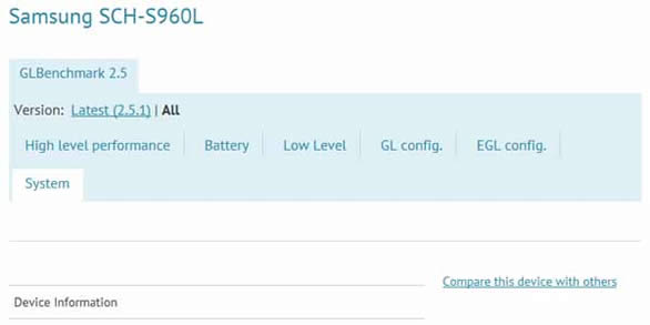 A Mysterious Device, Samsung SCH S960L, Appears On Benchmark Results